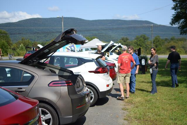 Attendees at a Drive Electric Week event outside Charlottesville, VA